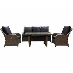 AVH-Collectie Bilbao stoel-bank dining loungeset verstelbaar 4-delig grijs