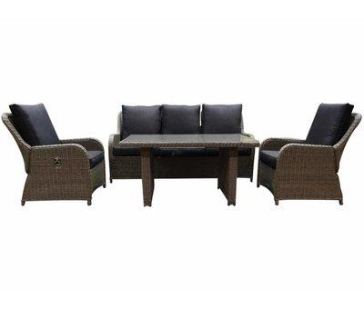 AVH-Collectie Bilbao XL stoel-bank dining loungeset verstelbaar 4-delig grijs