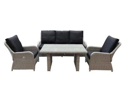 AVH-Collectie Bilbao stoel-bank dining loungeset verstelbaar 4-delig wit-grijs
