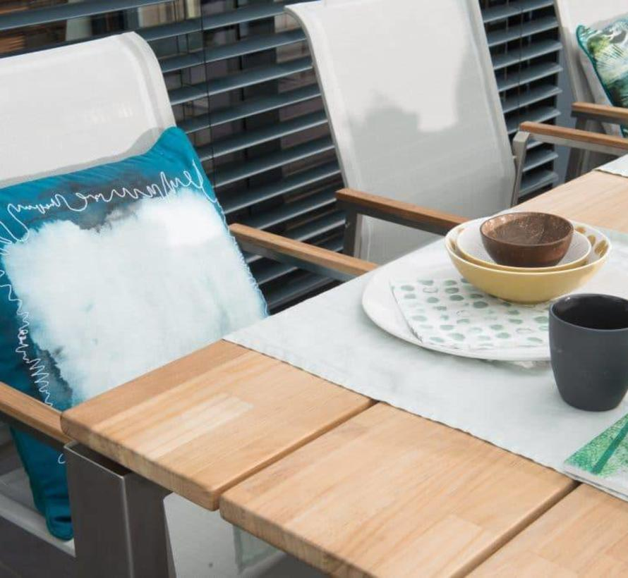 Goa Passions dining tuinset 220x95xH75 cm stapelbaar 7-delig Teak rvs