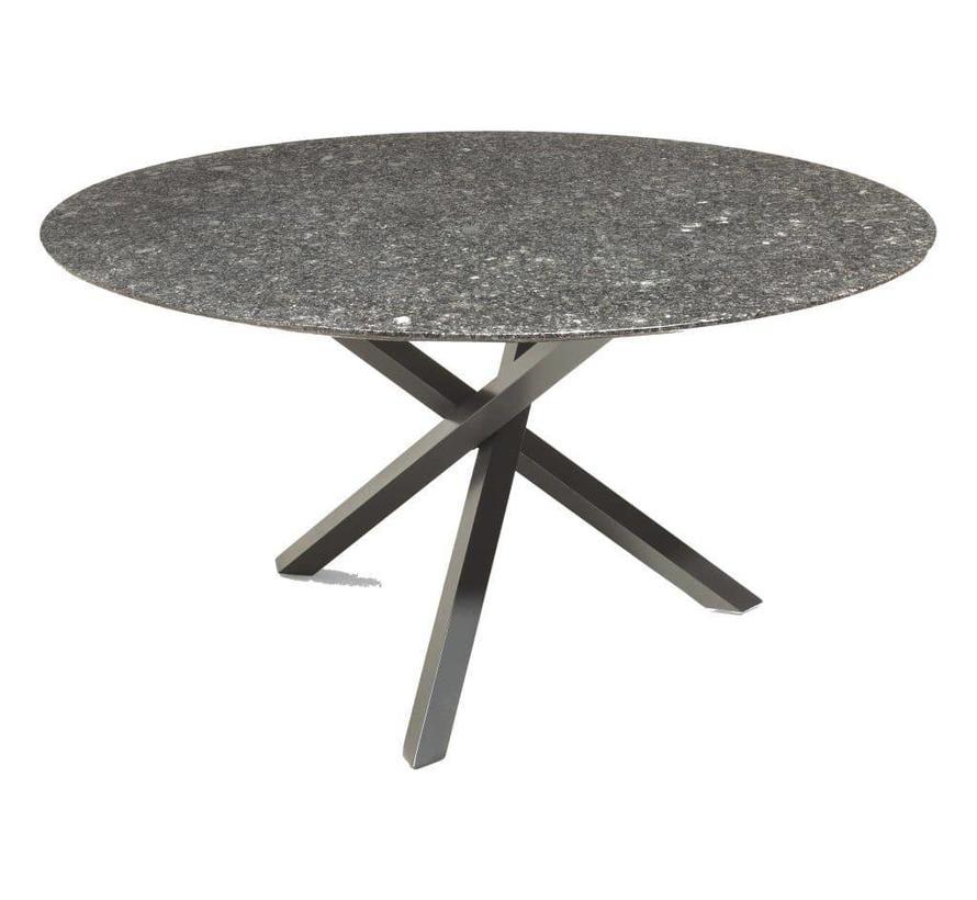 Gigi dining tuintafel 120 cm rond graniet black diamond satinado