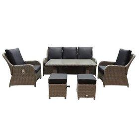 AVH-Collectie Bilbao XL stoel-bank dining loungeset verstelbaar 6-delig grijs
