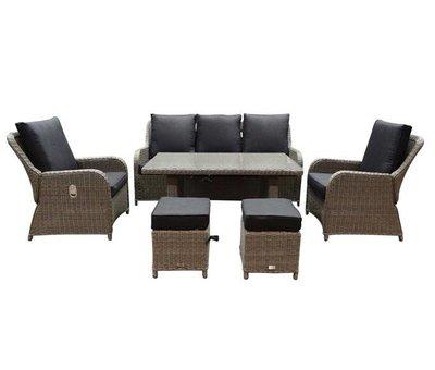 AVH-Collectie Bilbao stoel-bank dining loungeset verstelbaar 6-delig grijs
