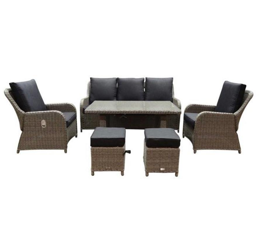 Bilbao stoel-bank dining loungeset verstelbaar 6-delig grijs