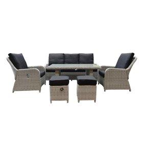 AVH-Collectie Bilbao XL stoel-bank dining loungeset verstelbaar 6-delig wit-grijs