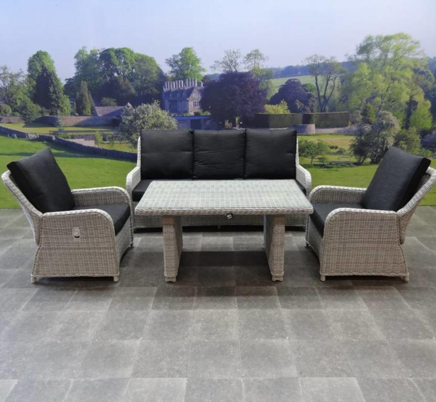 Bilbao stoel-bank dining loungeset verstelbaar 6-delig wit-grijs
