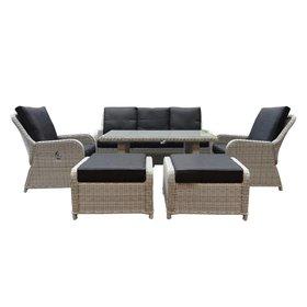 AVH-Collectie Bilbao stoel-bank dining loungeset verstelbaar 6-delig wit-grijs