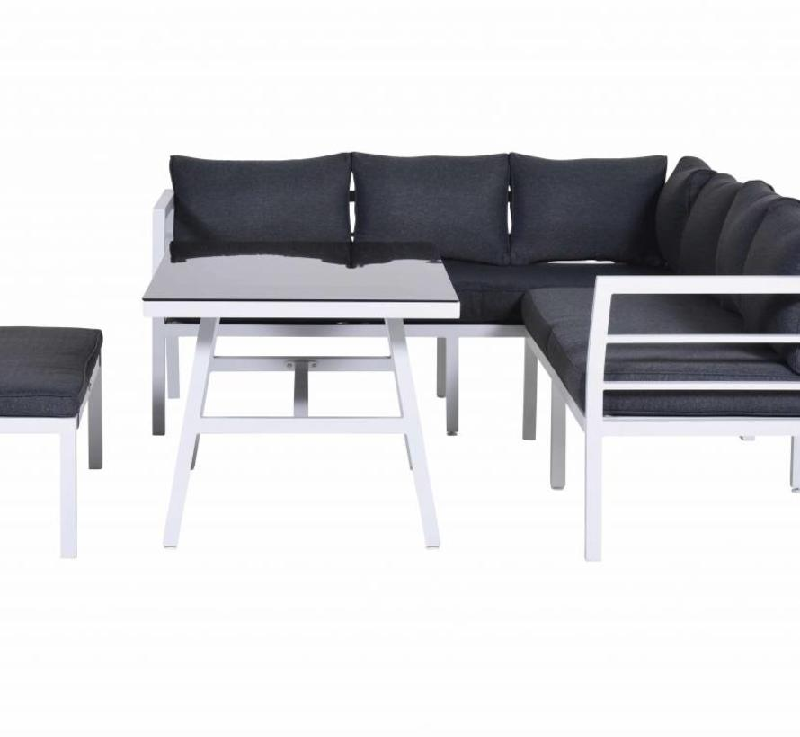 Blakes hoek dining loungeset 4-delig aluminium wit