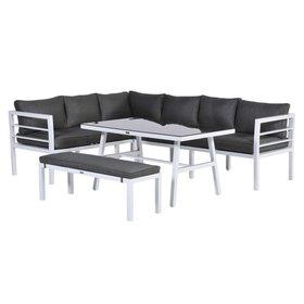 Garden Impressions Blakes hoek dining loungeset 4-delig aluminium wit