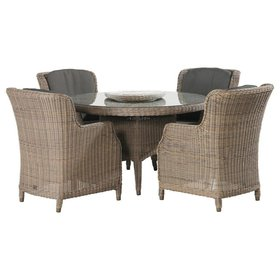 4 Seasons Outdoor Brighton dining tuinset 130 cm rond 5-delig 4 Seasons Outdoor