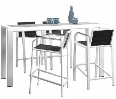 Higold Nomad bar tuinset 5-delig wit aluminium zwart textileen
