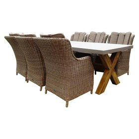 AVH-Collectie Norwich Darwin Deluxe dining tuinset 240x100xH77 cm 7-delig  wicker