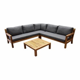 AVH-Collectie Harby hoek loungeset 4-delig teaklook