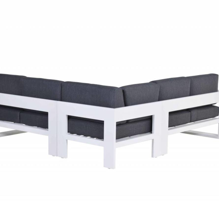 Cube hoek dining loungeset 4-delig aluminium wit