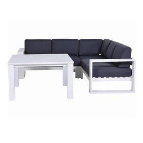 Garden Impressions Cube hoek dining loungeset 4-delig aluminium wit