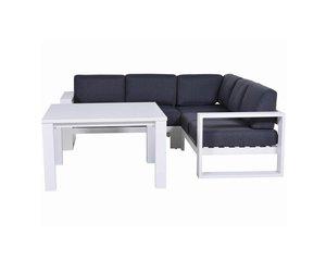 Cube hoek dining loungeset delig aluminium wit avh outdoor
