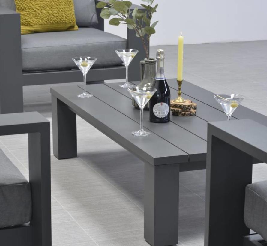 Cube stoel-bank loungeset 4-delig antraciet aluminium