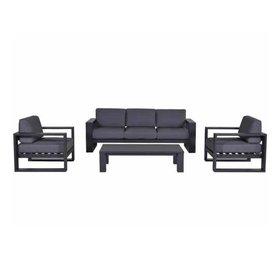 Garden Impressions Cube stoel-bank loungeset 4-delig antraciet aluminium