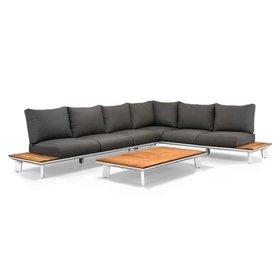 SUNS Denver hoek loungeset 3-delig wit aluminium + donker grijze kussens