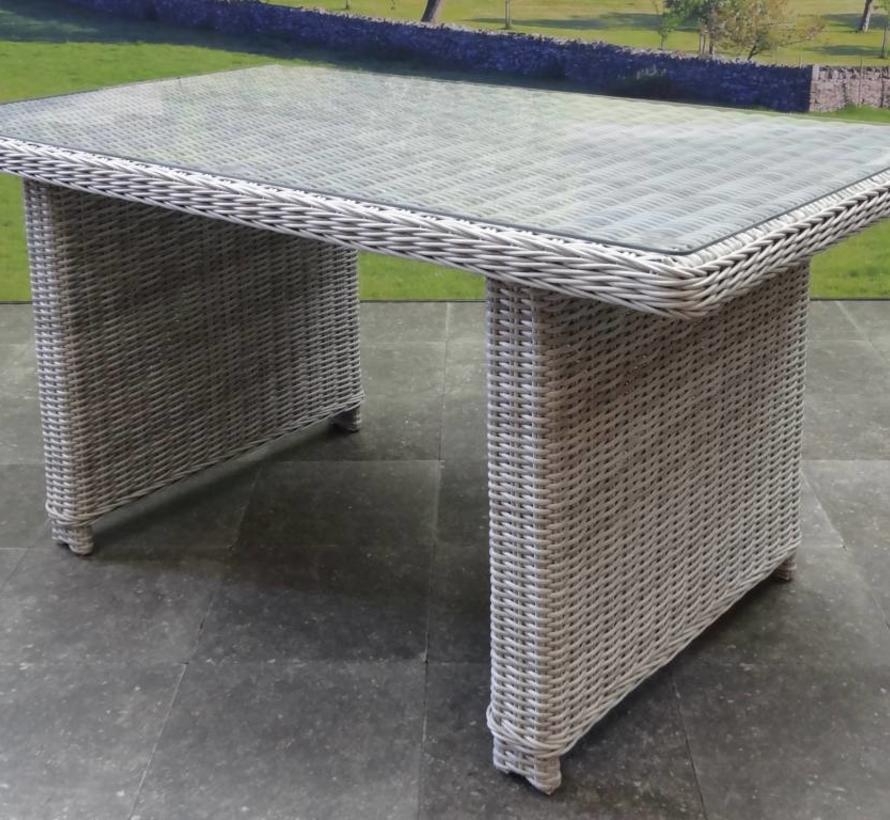 Ibiza hoek dining loungeset 4-delig verstelbaar wit grijs 120cm tafel