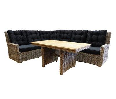 AVH-Collectie Ibiza naturel hoek dining loungeset 3-delig rotan-teak links