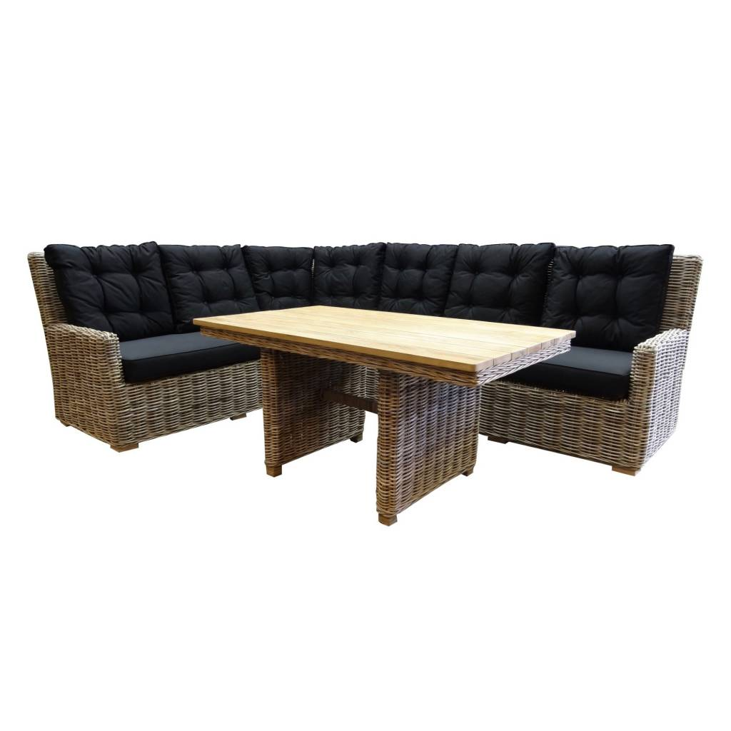 Ibiza naturel hoek dining loungeset 3-delig rotan-teak links