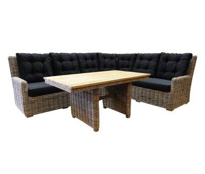 AVH-Collectie Ibiza naturel hoek dining loungeset 3-delig rotan-teak rechts