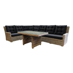 AVH-Collectie Ibiza naturel hoek dining loungeset 4-delig rotan links