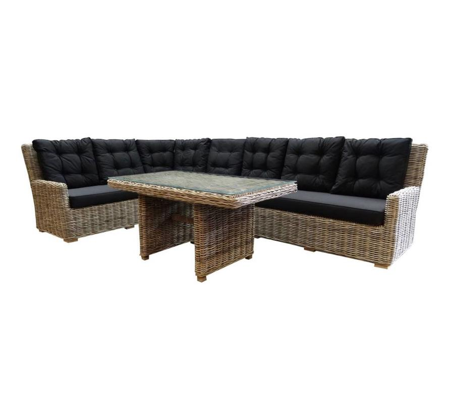 Ibiza naturel hoek dining loungeset 4-delig rotan links
