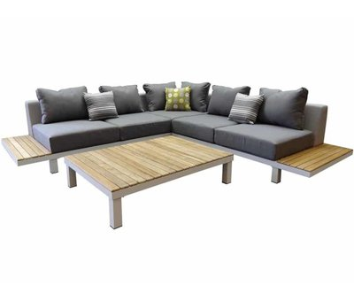 Higold Polo hoek loungeset 4-delig aluminium wit