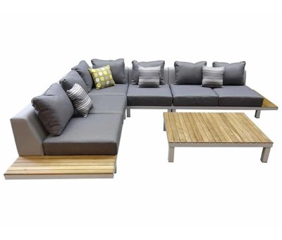Higold Polo hoek loungeset 5-delig aluminium wit