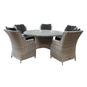 AVH-Collectie Riccione Darwin dining tuinset 150 cm rond 6-delig wit grijs