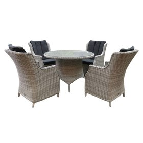 AVH-Collectie Riccione Darwin dining tuinset 110 cm rond 5-delig wit grijs