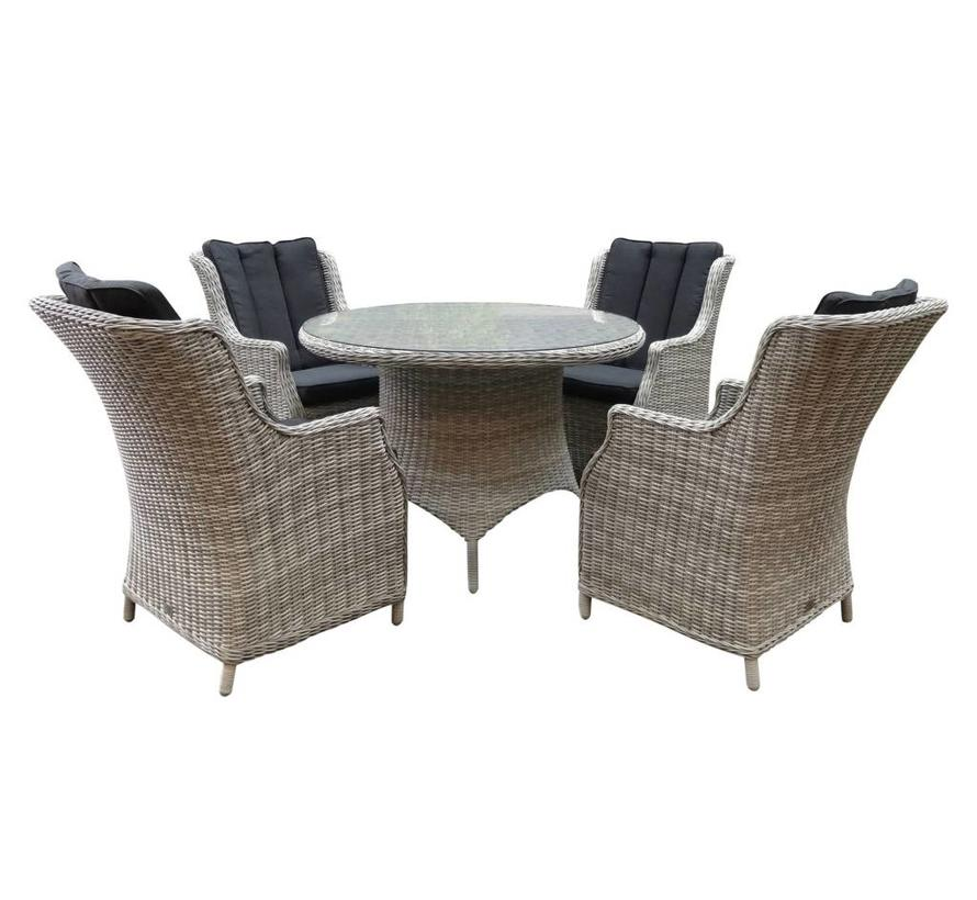 Riccione Darwin dining tuinset 110 cm rond 5-delig wit grijs