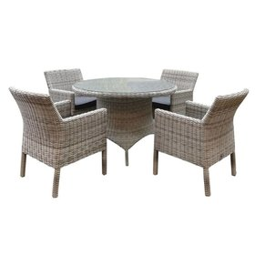 AVH-Collectie Riccione Wales dining tuinset 110 cm rond 5-delig wit grijs