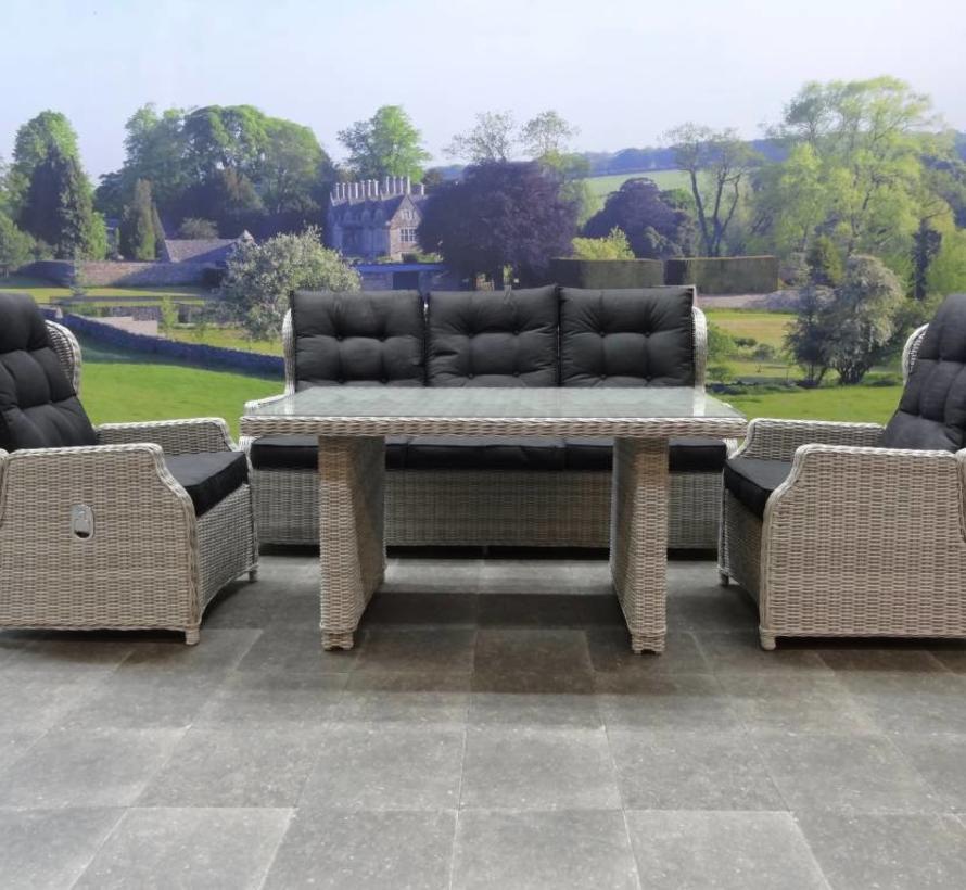 Ibiza XL stoel-bank loungeset 4-delig verstelbaar wit-grijs