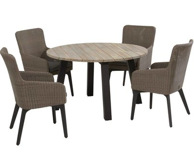4 Seasons Outdoor Derby Luxor dining tuinset Ø 130xH75 cm 5-delig aluminium teak