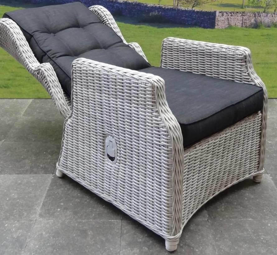 Ibiza XL stoel-bank loungeset 6-delig verstelbaar wit-grijs
