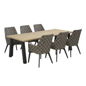4 Seasons Outdoor Derby Savoy dining tuinset 240x100xH76 cm 7-delig teak aluminium