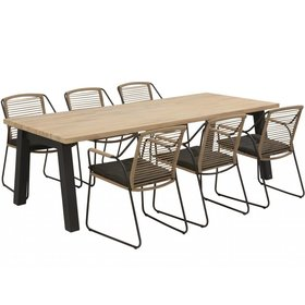 4 Seasons Outdoor Derby Scandic dining tuinset 240x100xH76cm 7-delig rope teak