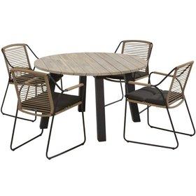 4 Seasons Outdoor Derby Scandic dining tuinset Ø 130xH75 cm 5-delig aluminium teak