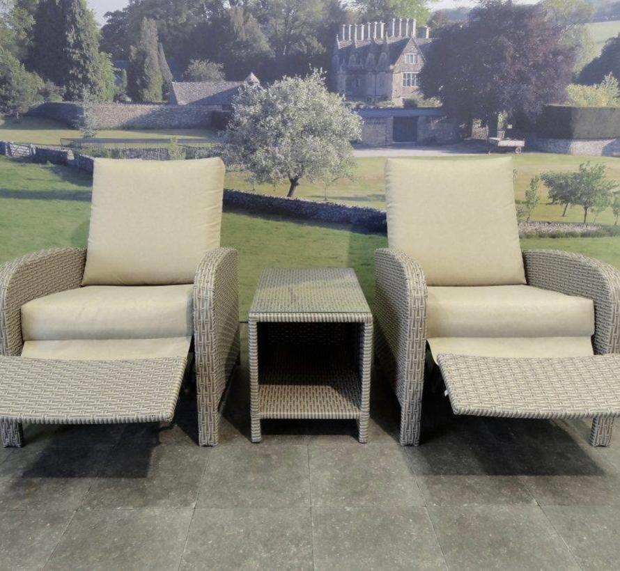 Diva lounge balkonset verstelbaar 3-delig bruin
