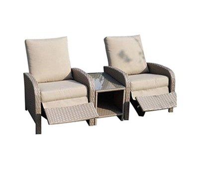 AVH-Collectie Diva lounge balkonset verstelbaar 3-delig bruin