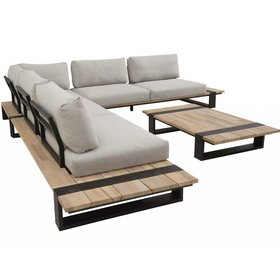 4 Seasons Outdoor Duke hoek loungeset 4-delig grijs teak 4 Seasons Outdoor