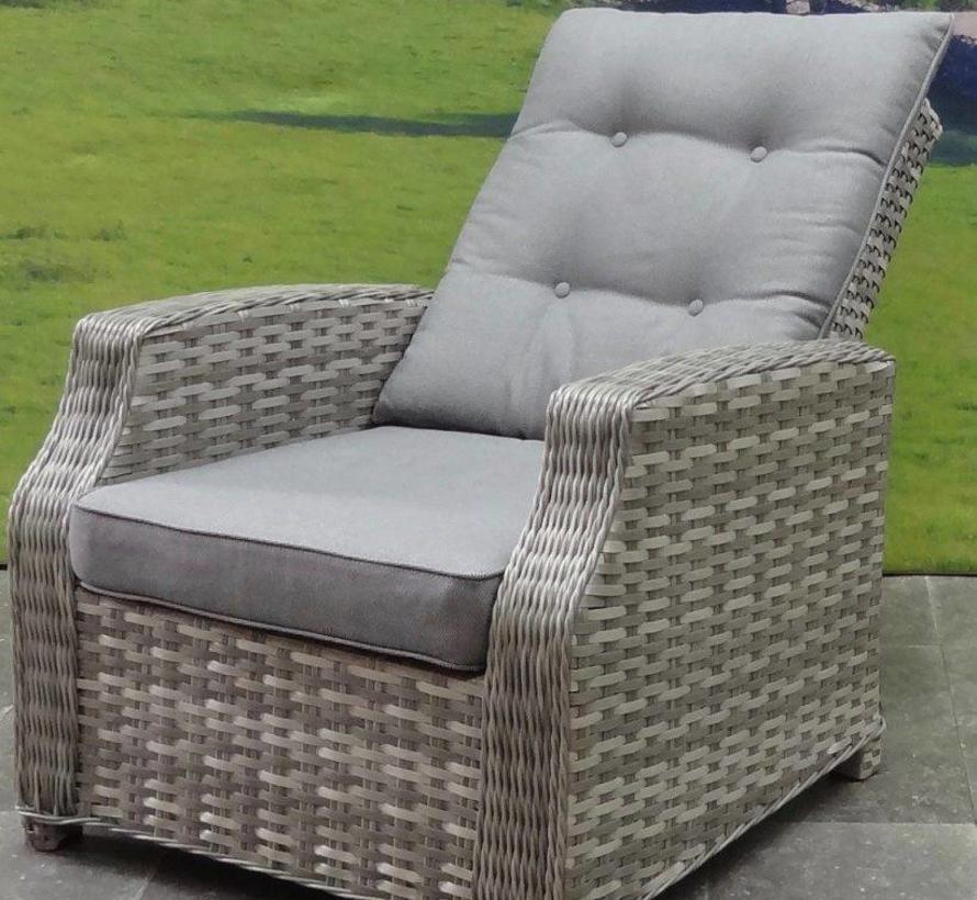 Kreta stoel-bank loungeset verstelbaar 4-delig grijs
