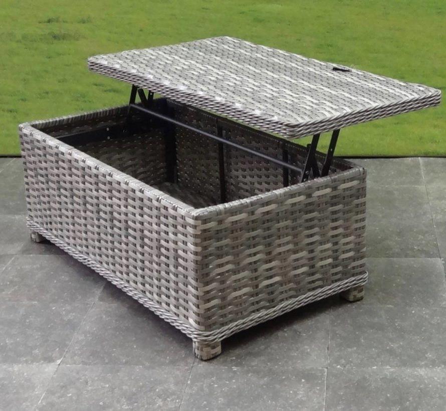 Kreta stoel-bank loungeset verstelbaar-draaibaar 4-delig grijs