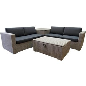 AVH-Collectie Saba hoek loungeset 4-delig met opbergboxen grijs
