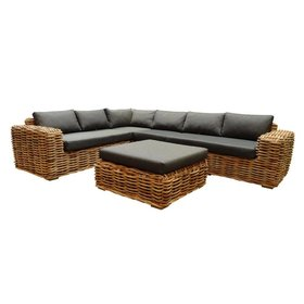 AVH-Collectie Sabuga hoek loungeset 5-delig naturel rotan