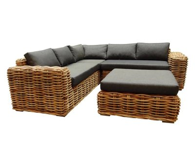 AVH-Collectie Sabuga hoek loungeset 4-delig naturel rotan