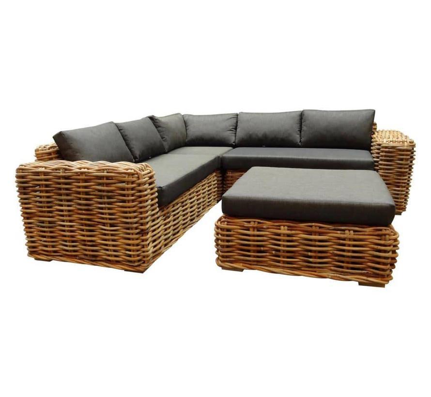 Sabuga hoek loungeset 4-delig naturel rotan